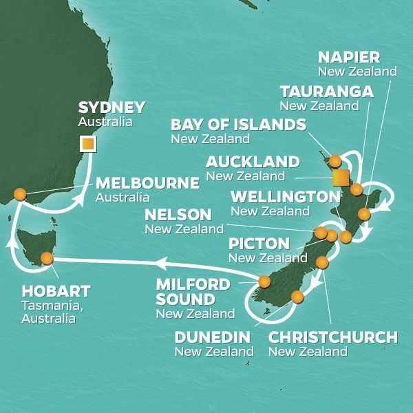 New Zealand & Australia Voyage Cruise 22 Night / 23 Days